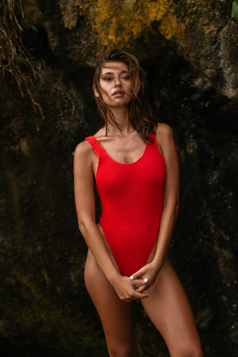 One piece swimsuit baywatch red