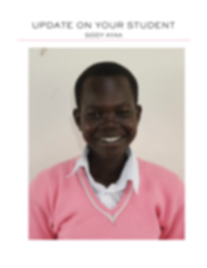 A photo of Siddy Ayaa a student in Africa sponsored to go to school by Sun Vixen Swimwear in Vancouver, Canada