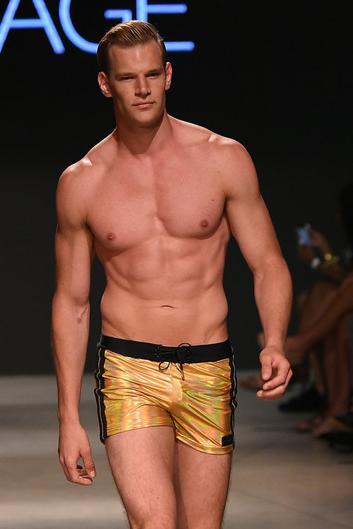mens gold metallic swim shorts sauvage
