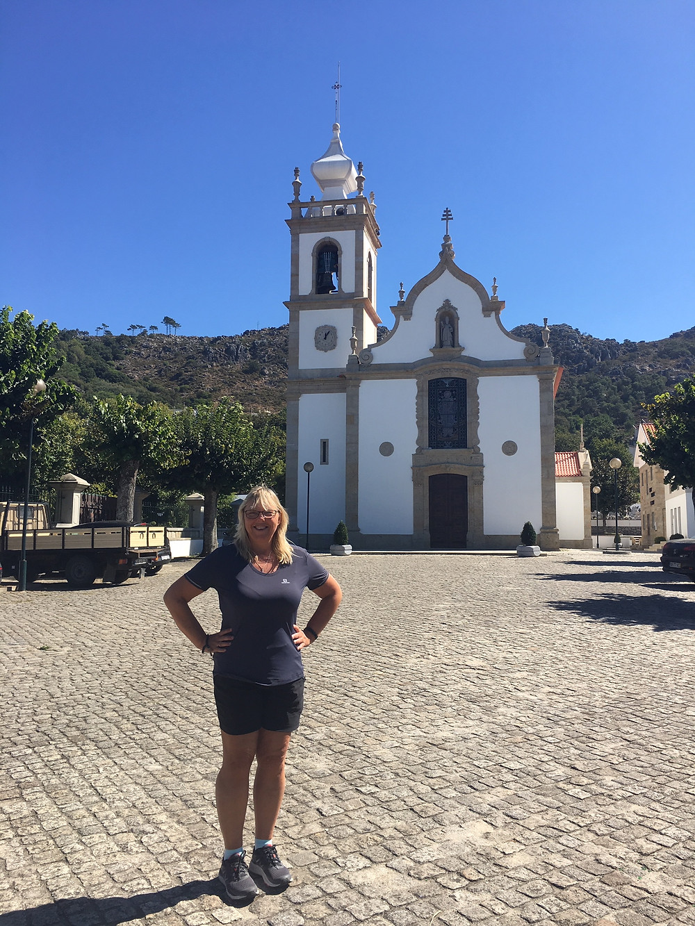 Linda Mott on the El Camino Trail in Portugal after losing 35 pounds to get in shape.  She used a one piece swimsuit from Sun Vixen Swimwear in Vancouver Canada as her weight loss reward incentive.