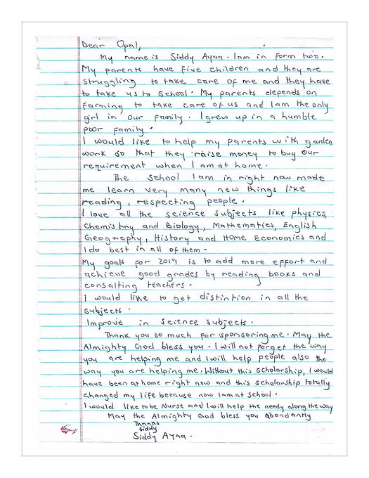 A thank you letter written by Siddy Ayaa in Africa to Sun Vixen Swimwear in Canada for sponsoring her to go to school in Africa