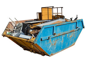 Isolated rubbish skip full of old office
