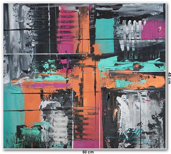 Quadro Com Pintura Abstrata Em Tela 50 cm X 45 cm - Deja-Vu 4