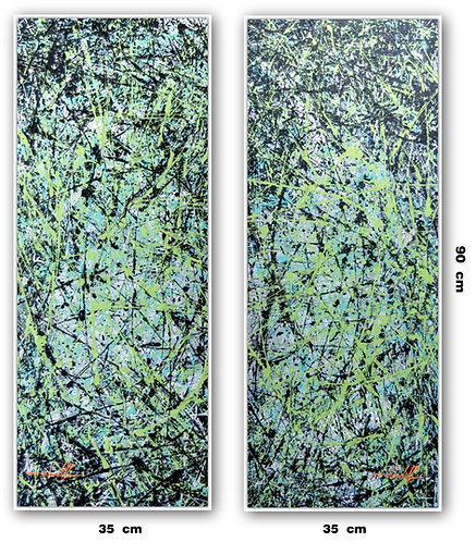Dois Quadros Com Pinturas Abstratas Com Verde - Com Moldura