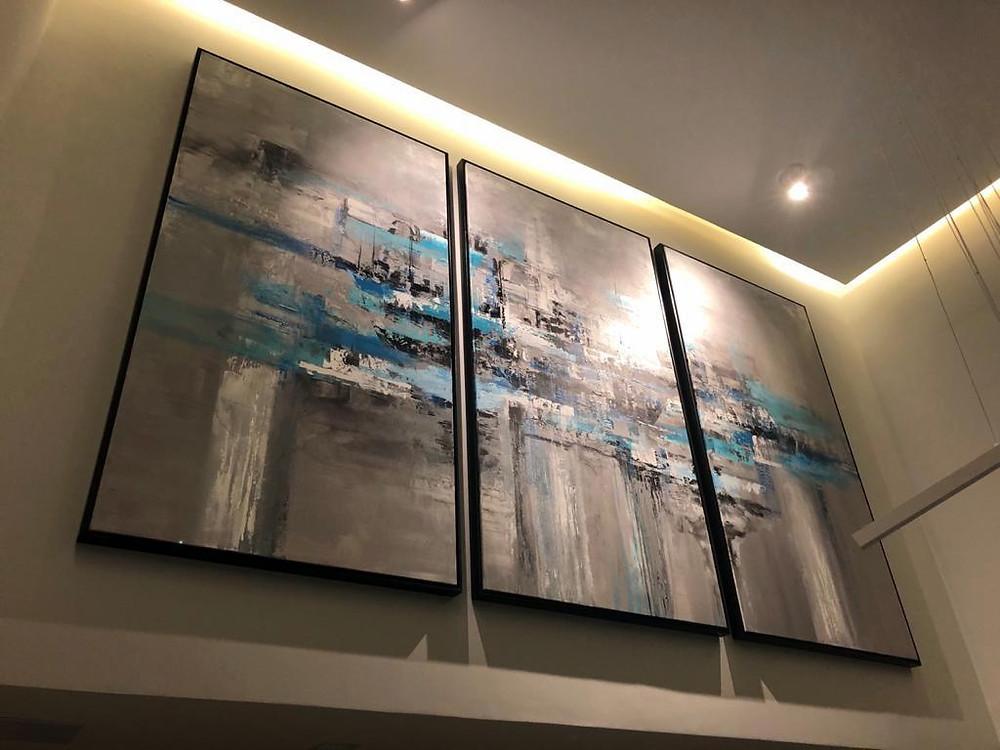 Trio de Quadros Abstratos Para São Paulo