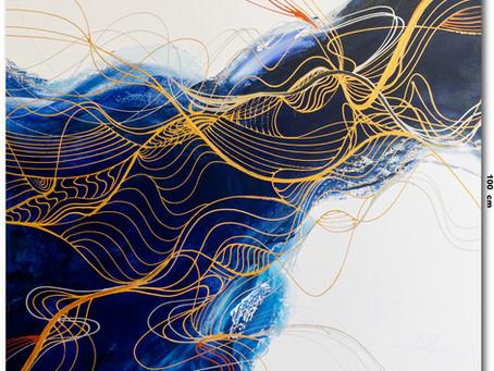 Tela Abstrata Azul 1,20 M x 1 M
