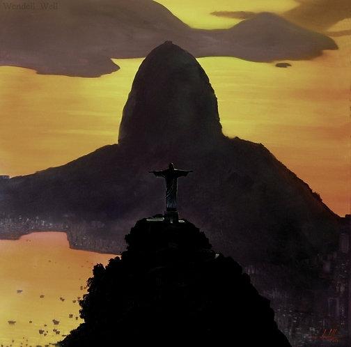 Pintura em Tela 120 cm X 120 cm - Paisagem do Rio de Janeiro 12