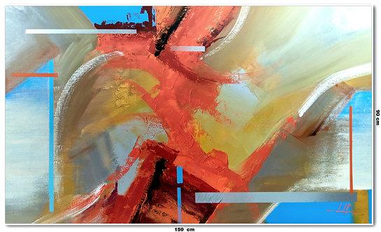 Tela Abstrata Em Óleo 150 cm X 90 cm - Vista-Di-Sallerno