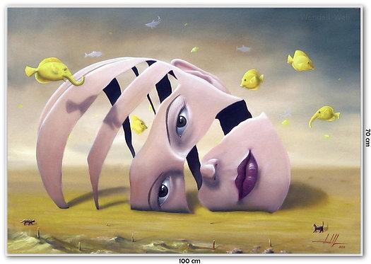 Obra Surrealista em Óleo Sobre Tela - O Deserto