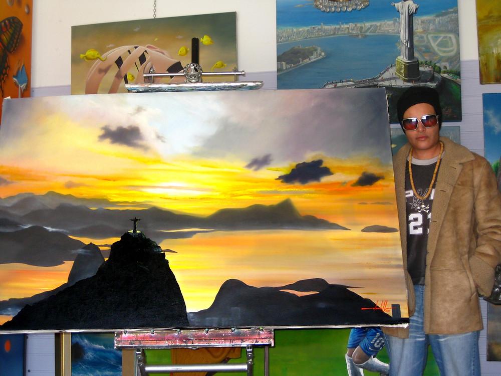 pintura do pôr do sol no Rio de Janeiro