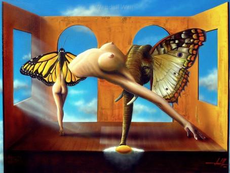 Obra Surrealista em Óleo sobre Tela - Borboletas