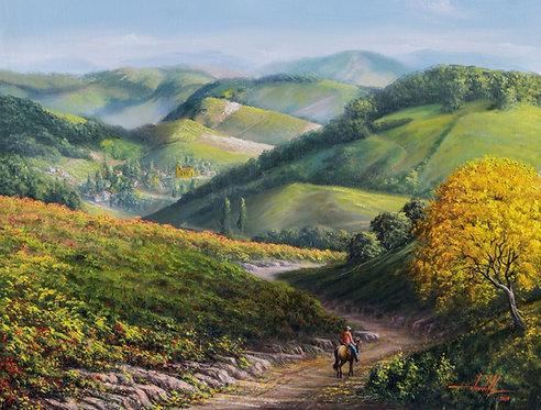 pintura de paisagem rural