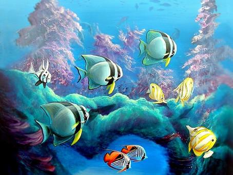 Pintura Figurativa com Peixes e Corais