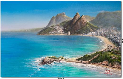 Quadro com Pintura do Rio de Janeiro - 140 cm X 90 cm