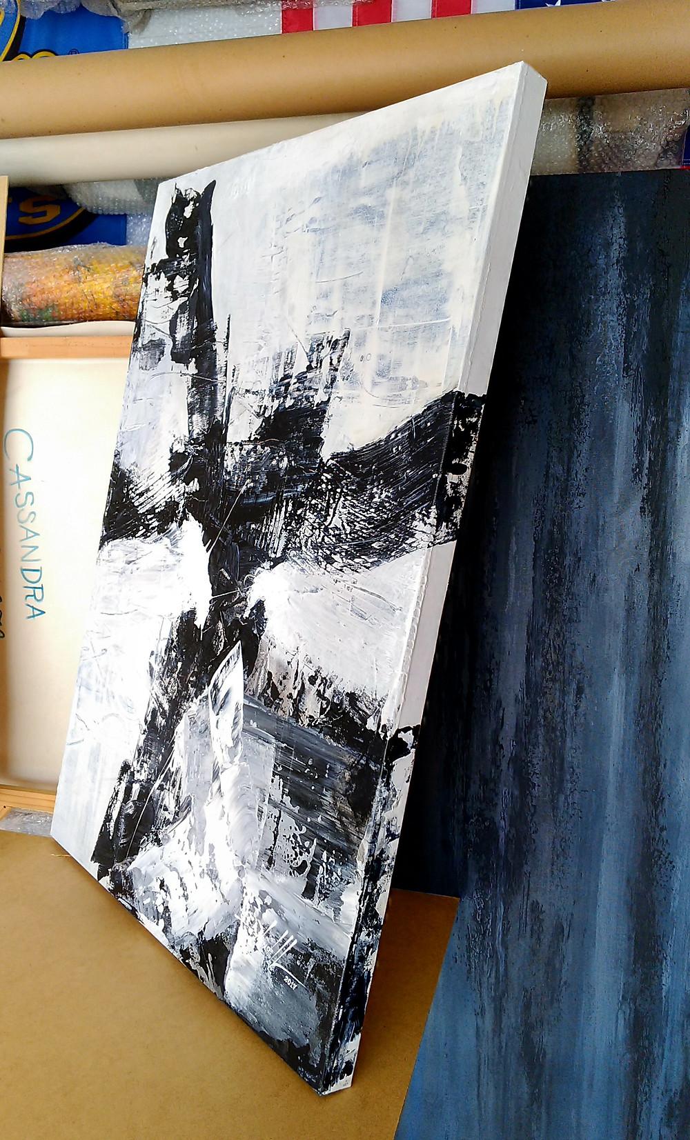 Quadro Abstrato Preto e Branco