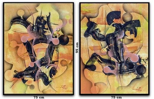 Dois Quadros Modernos com Pinturas Abstratas Em Tela - Com Moldura