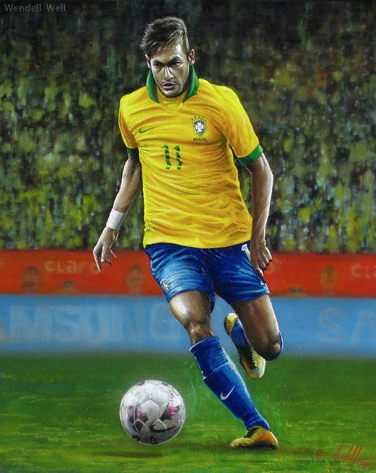 Pintura Neymar Seleção Brasileira - 80 cm X 95 cm