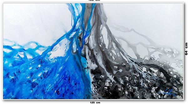 Tela Abstrata em Tela 120 Cm x 64 Cm - Soho-Blue