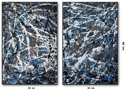 Dois Quadros com Telas Abstratas - Com Moldura