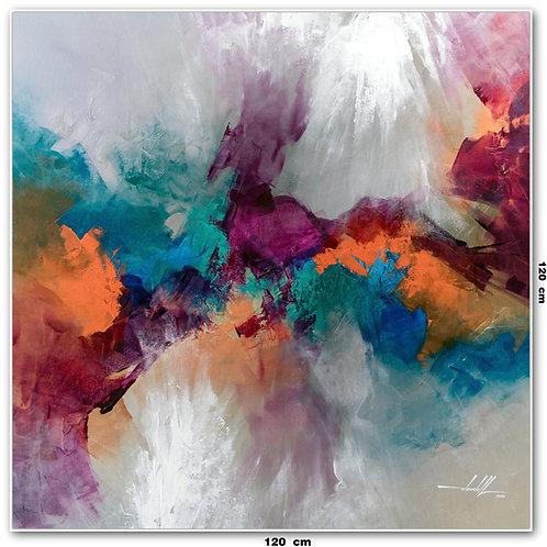 Quadro Abstrato Multicolorido 120 cm X 120 cm