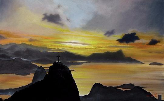 Pintura em Tela 159cm X 99cm - Paisagem do Rio de Janeiro 4
