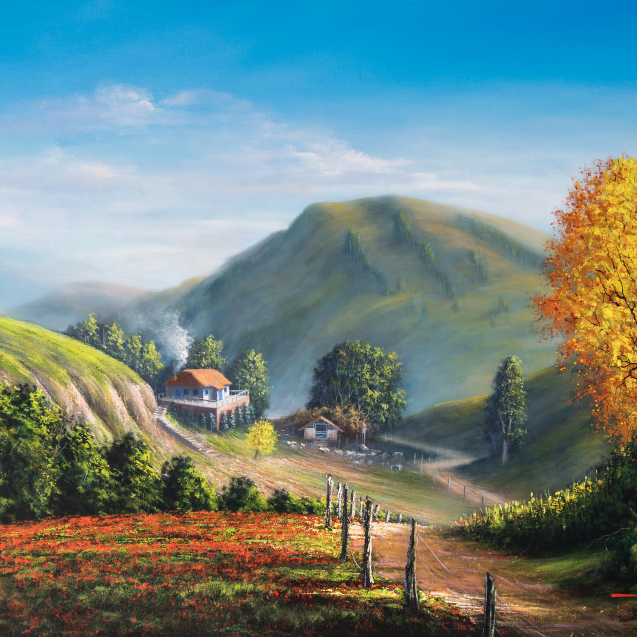 pintura em tela paisagem rural