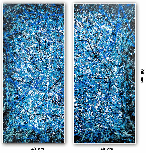 Dois Quadros Com Pinturas Abstratas Com Azul - Com Moldura