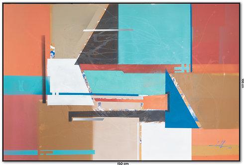 Tela Abstrata Em Tinta Acrílica 1,50 m X 1,00 m Quadro 9