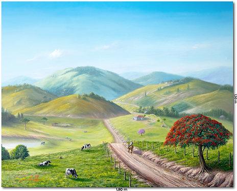 Pintura De Paisagem Em Tinta Oleo sobre Tela - 180 cm X 150 cm