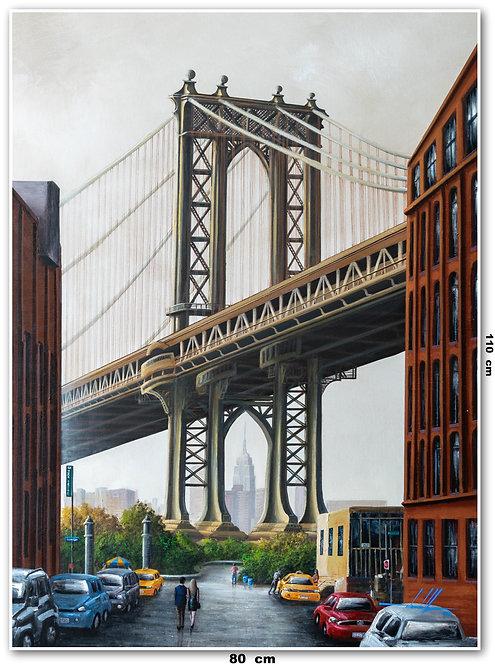 Obra De Arte New York Óleo Sobre Tela - 0,80 M X 1,10 M