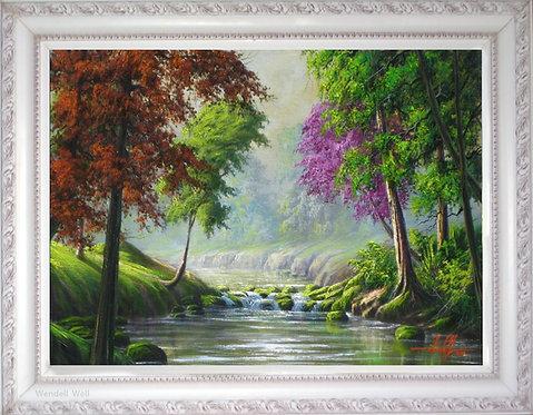 Quadro com Pintura em Tela 70 cm X 50 cm - Paisagem 20