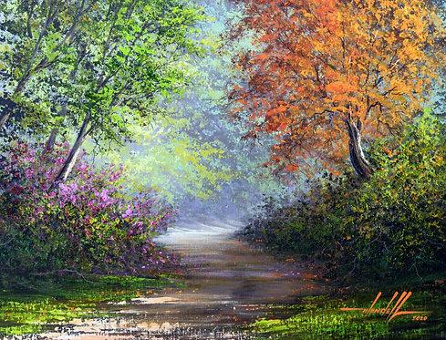 Pintura De Caminho Em Tinta Oleo sobre Tela 60 cm X 45 cm