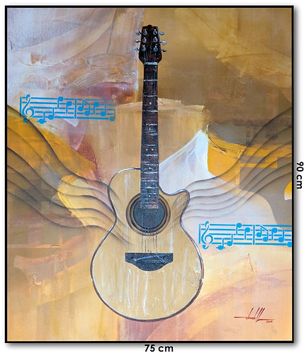 Quadro Com Pintura Em Tinta Acrílica 75 cm X 90 cm - O Violão