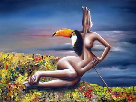 Obra Surrealista em Óleo sobre Tela - Cassandra