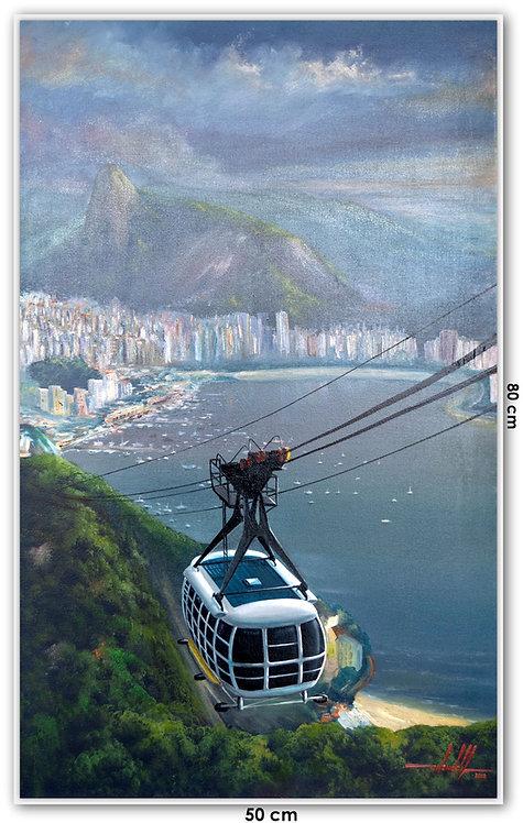 Quadro Com Pintura Em Tela - Rio de Janeiro 50 cm X 80 cm RJ15
