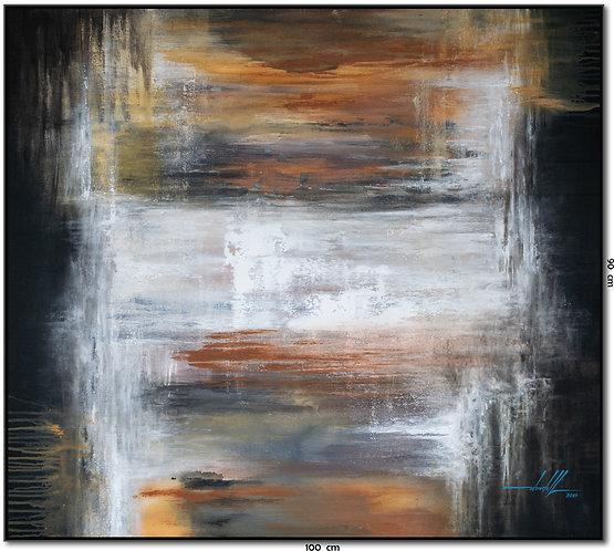 Tela Abstrata Em Tinta Acrílica 100 cm X 90 cm - PortValao