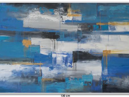 Quadro Com Tela Abstrata Azul - 1,30 M X 0,90 M