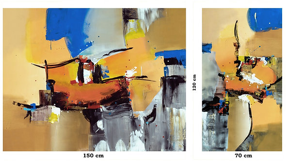 Duas Pinturas em Tinta Acrílica Para Dois Quadros Modernos