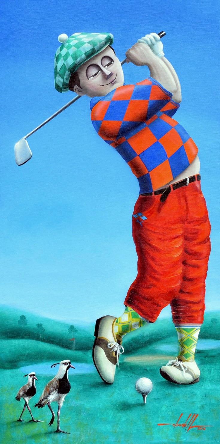 pintura em tela de golfista