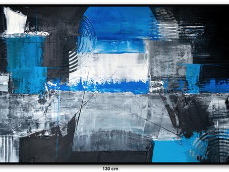 Quadro Abstrato Azul E Preto