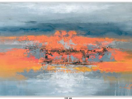 Quadro Abstrato Com As Cores Laranjas E Cinzas