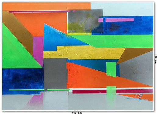 Tela Abstrata em Tela 110 Cm x 80 Cm - Nolanna-Bay