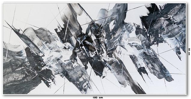 Tela Abstrata em Preto e Branco 100 Cm x 50 Cm - Lunna 12