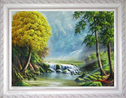 Quadro com Pintura de Paisagem em Tela 70cm X 50cm - Paisagem 4