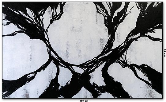 Tela Abstrata Preto e Branco 160 cm X 95 cm
