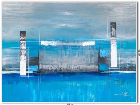 Quadro Abstrato Azul 1,20 M X 0,90 M