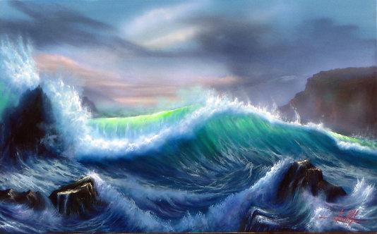 Pintura em Óleo sobre Tela 80 X 50 cm - Marinha 7