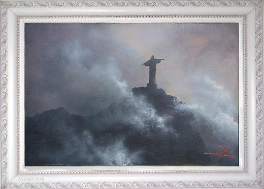 Quadro Com Pintura Em Tela - Rio de Janeiro 60 cm X 40 cm RJ8