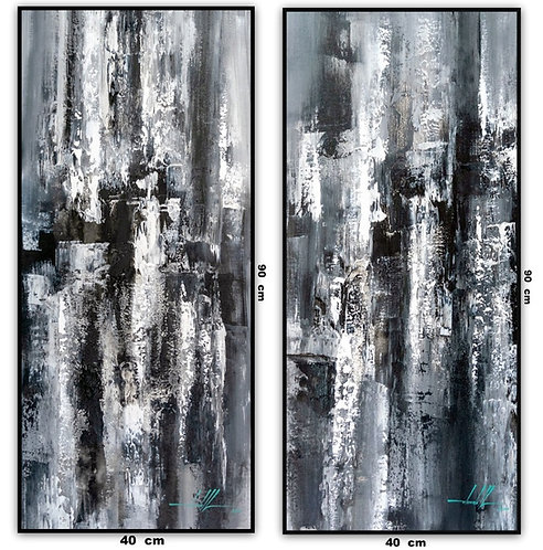 Dois Quadros Com Pinturas Abstratas Em Preto e Branco - Com Moldura