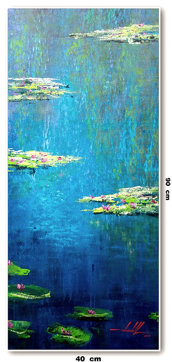 Pintura Impressionista Lago Giverny 40 CM x 90 CM - LeMonet 3